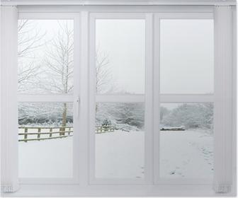 Poster Schnee-Szene Fenster