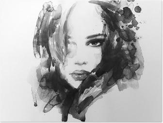 Poster Schöne Frau Gesicht. Aquarell Illustration