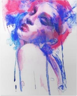 Poster Schöne Frau. Handgemalte Modeillustration