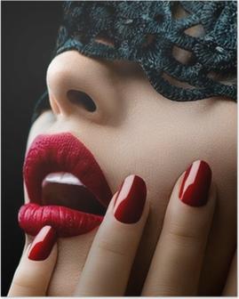 Poster Schöne Frau mit schwarzer Spitze Maske über die Augen