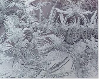 Poster Schöne Winter frostig Muster von spröden transparenten Kristalle auf dem Glas