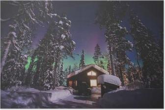 Poster Schönes Bild von massiven bunten grün lebendige Aurora Borealis, Aurora Polaris, auch bekannt als Nordlichter in den Nachthimmel über Winter Lappland Landschaft, Norwegen, Skandinavien