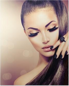 Poster Schönheit Mode Modell Mädchen mit langen gesundes Braun Haar