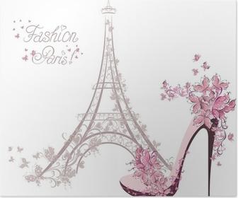 Poster Schuhe mit hohen Absätzen auf den Hintergrund der Eiffelturm. Paris Fashion
