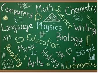 Poster Schulfächer und Kritzeleien auf Tafel