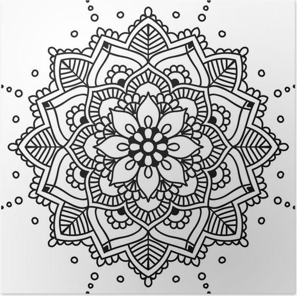 Poster Schwarz Blumenmandala für Design oder mendie, isoliert auf ...