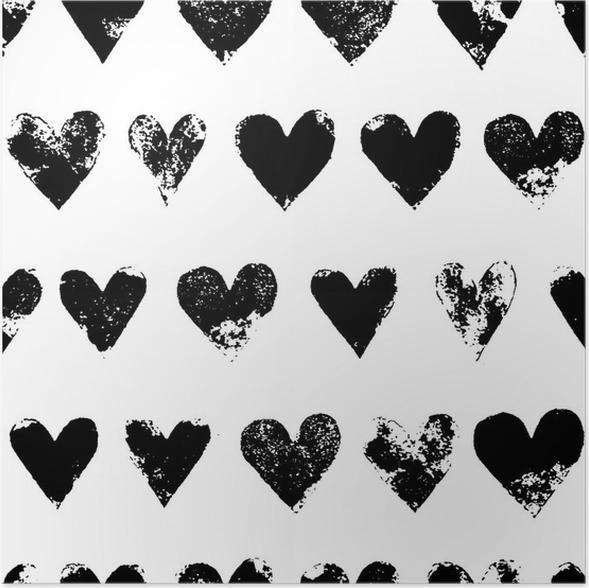 Poster Schwarz-Weiß-Grunge-Herzen nahtlose Muster drucken, Vektor ...