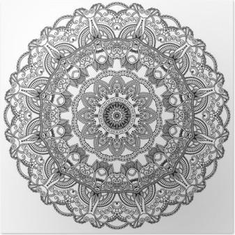 Poster Schwarze Spitze Kreis auf weißem Hintergrund. Ornamental Mandala