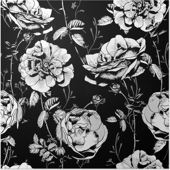 Poster Schwarzweiss-Blumen-nahtloser Hintergrund • Pixers® - Wir ...