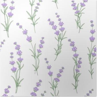 Poster Seamless di fiori di lavanda su uno sfondo bianco. modello acquerello con lavanda per campione di tessuto. modello senza cuciture per tessuto. illustrazione vettoriale.