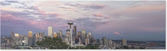 Poster Seattle City Downtown Skyline at Sunset Panorama