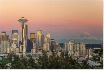 Poster Seattle Skyline und Mount Rainier bei Sonnenuntergang