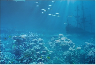 Poster See oder Meer unter Wasser mit Hai und versenkt Schiff Schätze