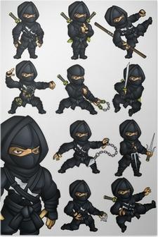 Poster Set di 11 Ninja posa in un abito nero
