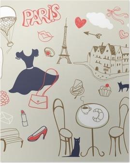Poster Set di mano disegnato simboli di Parigi