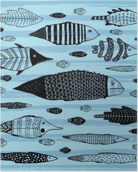 Poster Set di pesci divertenti