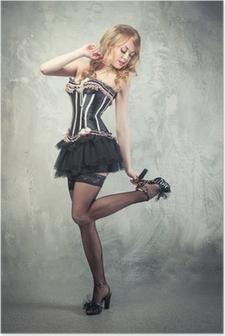 5cdbd63a31b Poster Schöne Frau mit langen sexy Beine in Strümpfen und High Heels ...