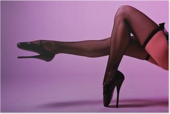 Poster Sexy gambe femminili in calze a rete e balletto fetish estremo
