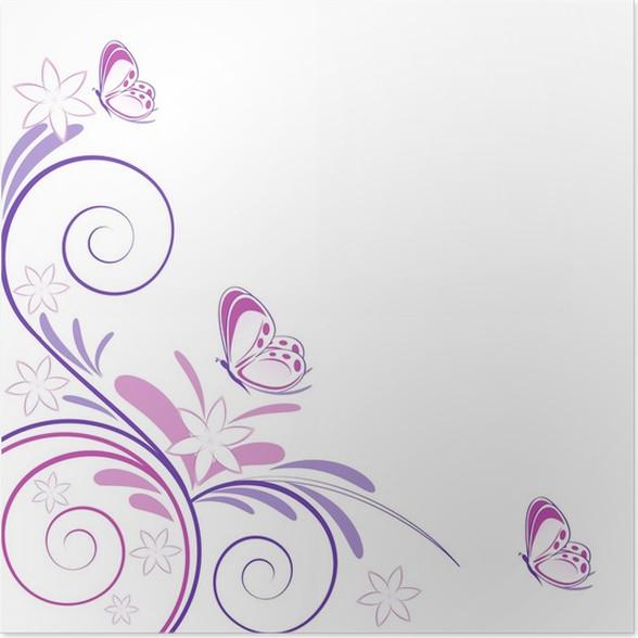 Poster sfondo primaverile fiori e farfalle pixers for Sfondi farfalle gratis