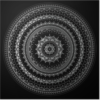 Poster Silber Mandala