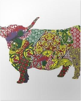 Poster Silhouette eines schottischen Hochland-Kuh in der keltischen Muster