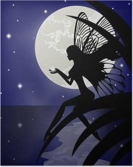 Poster Silhouette Fee Mädchen hält einen Stern