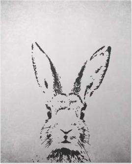 Poster Silhouette Kaninchen Hintergrund