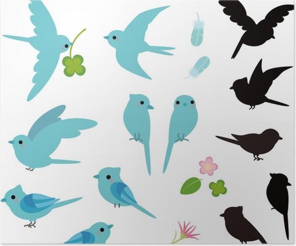 Poster Silhouette und blauer Vogel • Pixers® - Wir leben, um zu ...