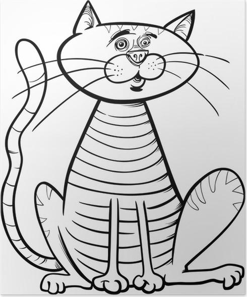 Poster Sitzende Katze Cartoon Färbung Seite • Pixers® - Wir leben ...