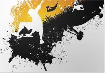 Poster Skateboard abstrakte Stadt Hintergrund