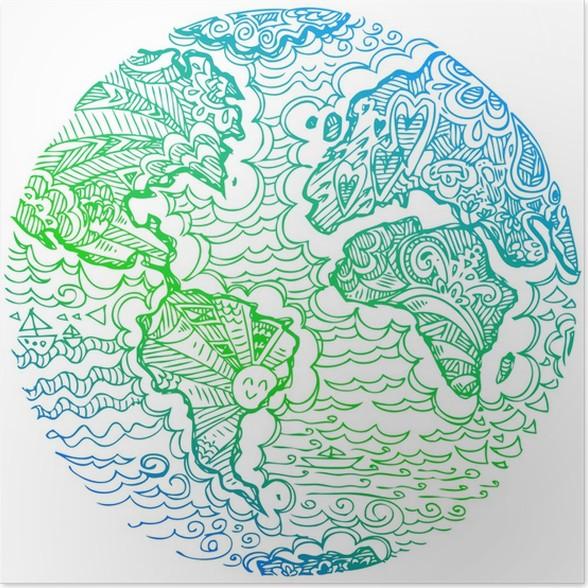 Poster Sketchy Doodles: Blaue Und Grüne Erde.