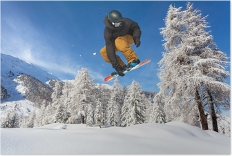 Poster Snowboarder in neve fresca