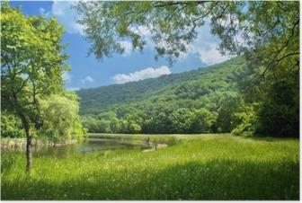Poster Sommer Landschaft mit Fluss und blauer Himmel