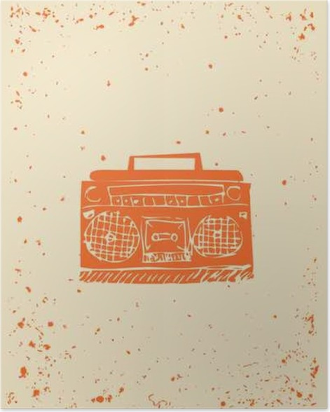 Poster Sommerkonzert Boombox Plakat Flyer mit Exemplar. Grunge ...