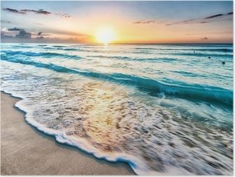 Poster Sonnenaufgang über Cancun Beach