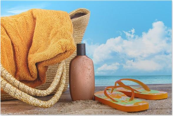 36a9611215c1d Poster Sonnencreme mit Handtuch am Strand • Pixers® - Wir leben