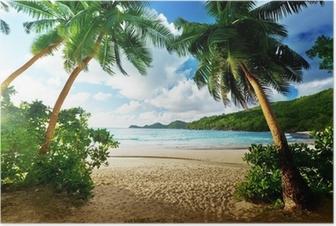 Poster Sonnenuntergang auf den Seychellen