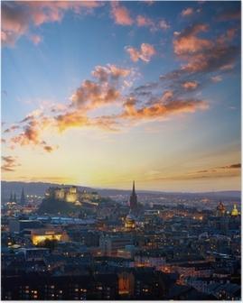 Poster Sonnenuntergang Blick auf Edinburgh, Großbritannien