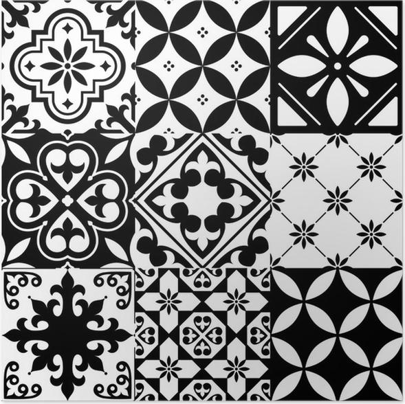 Poster Spanische Fliesen, Marokkanische Fliesen Design, Nahtlose Schwarze  Muster