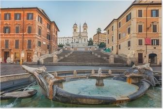 Poster Spanische Treppe am Morgen, Rom