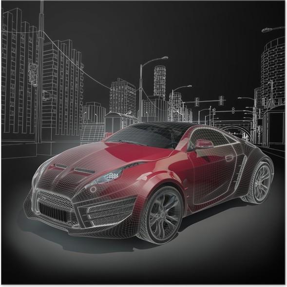 Poster Sportwagen Blaupause. Original Auto-Design. • Pixers® - Wir ...