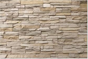 Poster Stacked Steinmauer Hintergrund horizontal