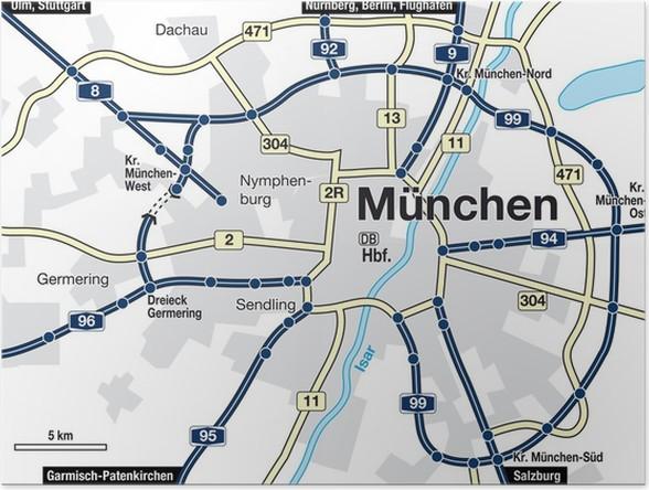 Poster Stadtplan München • Pixers® - Wir leben, um zu verändern