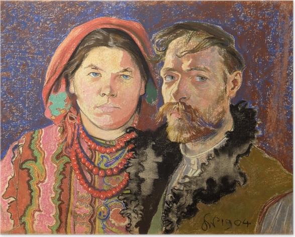 Poster Stanisław Wyspiański - Porträt des Künstlers und seiner Frau - Reproductions