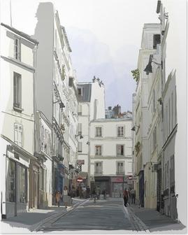 Poster Strada vicino a Montmartre a Parigi