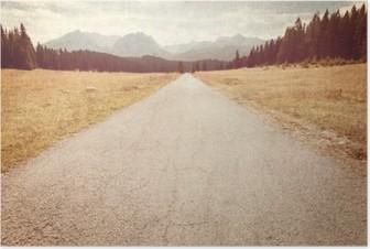 Poster Straße in Richtung der Berge - Vintage Bild