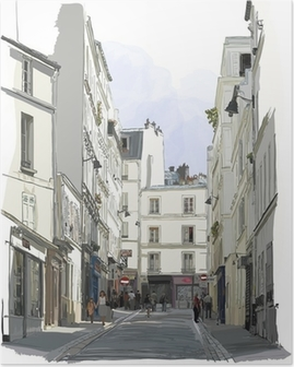 Poster Straße nahe Montmartre in Paris