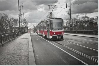 Poster Straßenbahn in der Stadt Prag