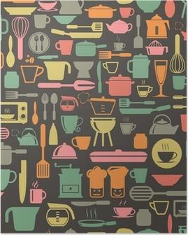 Poster Strumenti della cucina seamless con colori retrò, formato vettoriale