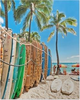 Poster Surfboards nel rack a Waikiki Beach